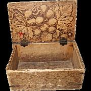 Folk Art, Wood Burnt, Small, Wood Box
