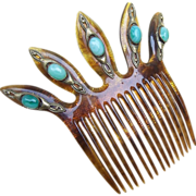 SALE Elaborate Hair Comb With Cabochon Embellishment Hair Accessory