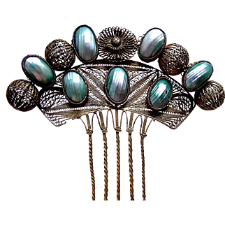 Spanish Hair Comb Gilt Metal Filigree and Mother of Pearl Hair Accessory