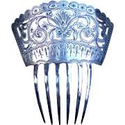 Mid Victorian Hair Comb Sterling Silver Spanish Style Hair Accessory