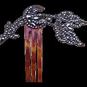 Victorian Cut Steel Hair Comb themed as an Arrow and Crescent Hair Accessory