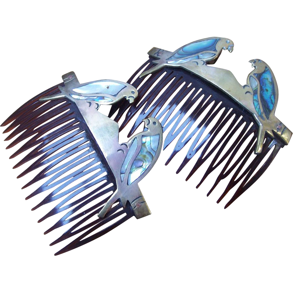 Vintage hair combs 2 Mexican brass, abalone shell and mother of pearl parrots