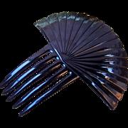 Hair Comb Art Deco Black Celluloid Sunray Design Hair Accessory