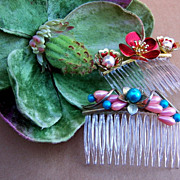 Vintage Hair Combs Two Fancy Baroque Style Side Combs