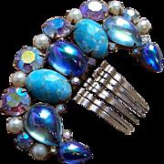 SALE Vintage Hair Comb Hollywood Regency Blue Cabochon Hair Accessory