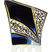 Art Deco French Ivory Parti Color Hair Comb with Provenance