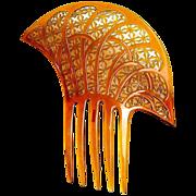 Art Deco Hair Comb Amber Celluloid Asymmetric Spanish Style Hair Accessory