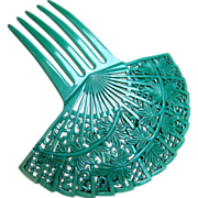 Spanish style hair comb Art Deco green celluloid fan shape hair accessory