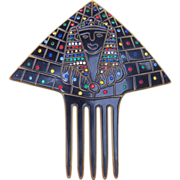 Art Deco Hair Comb Egyptian Revival with Figural Face and Multi Rhinestones Hair Accessory