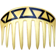 Art Deco Hair Comb French Ivory Geometric Design Hair Accessory