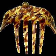 Art Deco Hair Comb Faux Tortoiseshell Openwork Back Comb Hair Accessory
