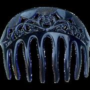 Art Deco Bandeau Style Hair Comb Black Celluloid Openwork Hair Accessory