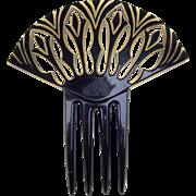 Egyptian Revival Art Deco Celluloid Hair Comb Hair Accessory