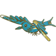 Chinese Kingfisher Feather Barrette Hair Pin with Figural Bird Hair Comb Hair Accessory