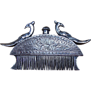 SALE Indian Perfume Comb or Beard Comb, Silver, Rajasthan 19th Century
