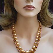 Vintage multistrand necklace signed Hong Kong peach bronze pearl (ACA)