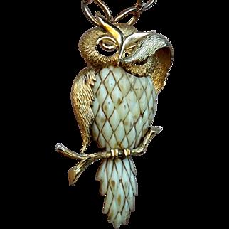 SALE Raza Bashful Owl Signed Pendant Statement Necklace