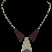 SOLD Vintage Jakob Bengel Necklace, German Art Deco Modernist Pale Gold Tone and Galalith 1930