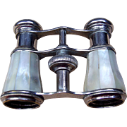 Antique Opera Glasses Stainless Steel and White Mother of Pearl  (AAB)