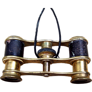 Antique Miniature Opera Glasses Brass and Leather  (AAJ)