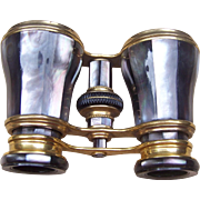 Antique Cased Opera Glasses Brass and Grey Mauve Mother of Pearl (AAO)
