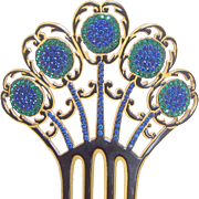 Peacock Hair Comb Art Deco Multi Rhinestone Spanish Style Hair Accessory