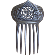Victorian Mourning Hair Comb Moulded Vulcanite Hair Accessory