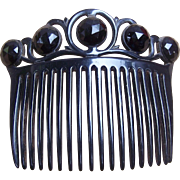 Victorian Mourning Hair Comb Moulded Vulcanite French Jet Hair Accessory