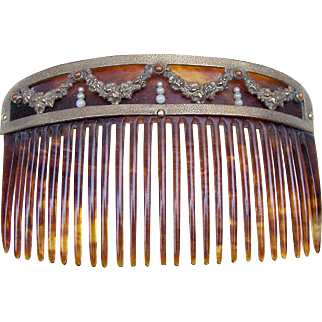 Antique Hair Comb Victorian Faux Tortoiseshell Gilded Metal Hair Accessory