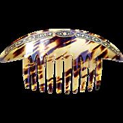 Toledo or Damascene Work Hair Comb in Faux Tortoiseshell Celluloid Hair Accessory