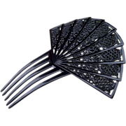 Spanish Style Hair Comb In Large Black Lacy Design