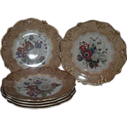 Gorgeous 19th Century Prattware Dessert Plates, James Muggleton, C. 1850