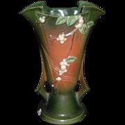 Stunning Large Roseville Snowberry Handled Vase, C. 1947