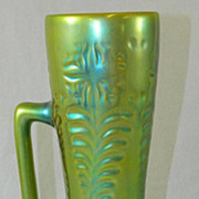 REDUCED Zsolnay Green Iridescent One-Handled Vase, 10.50""