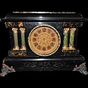 Classic Seth Thomas Two Pillar Adamantine Mantel Clock, C. 1900