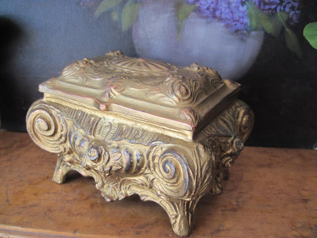 Antique Rare Gilt Metal Mexican Baroque Jewel Trinket Box