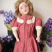 Darling Red Chambray Antique Doll Drop Waist Dress Suitable for Schoenhut