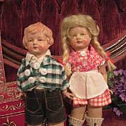 SALE Rare German WWI Era Haralit Pair 1 of Hansi Dolls by Wagner & Zatsche