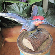 Vintage Folk Art Hand Carved Wooden HummingBird