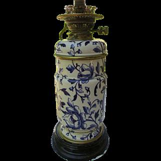 SALE Antique English Victorian Flow Blue Oil Lamp