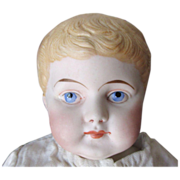 SALE Adorable Antique Unmarked Parian Blond German Bisque Boy Doll