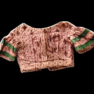 Extraordinary Early Mid-19th Century Civil War Woolen Challis Bodice