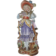 Huge Antique Bisque Figurine Girl With Fan