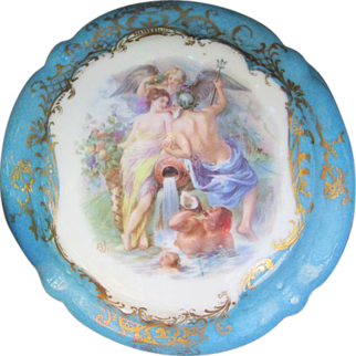 SALE Gorgeous Antique Royal Bayreuth Powder Box Mythological