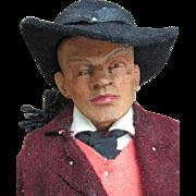 Vintage Wooden Hand Carved Folk Art Doll Tyrol Man