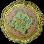 Lovely Vintage Italian Florentine Round Handpainted Toleware Vanity Tray