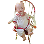 Antique German Bisque Head Brown Eyed Character Boy Doll : So Uncommon, So TLC !