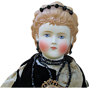 Antique Large Parian Doll with Fancy Molded Hair and Jet Bead Diadem Tiara