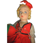 SALE Early Lenci Girl Doll with Patchwork Ball TLC