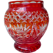 SALE Dramatic Vintage Bohemian Glass Vase Cranberry Cut to Clear